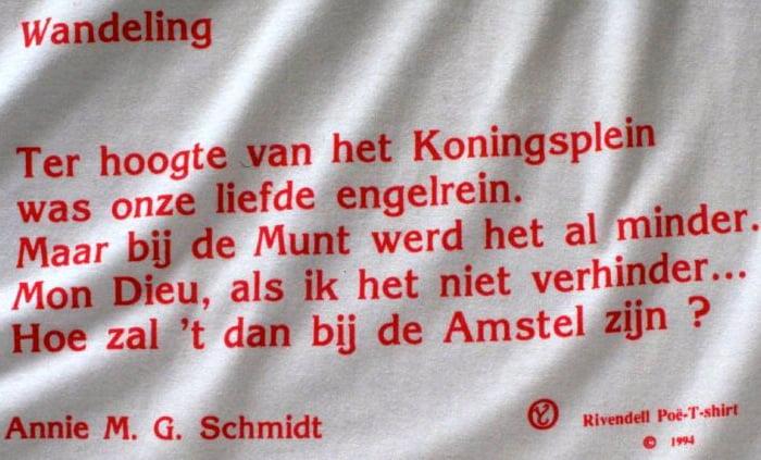 Annie M.G. Schmidt, 'Wandeling', gedicht op T-shirt