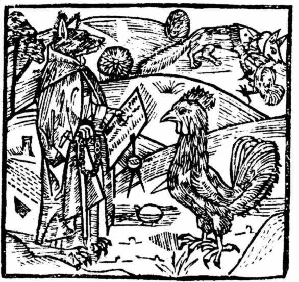 Reintje de vos in priesterkleed, houtsnede uit 1498