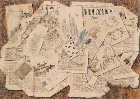 'Collage', trompe-l'oeil, achttiende eeuw