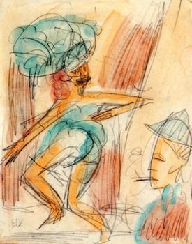 Ernst Ludwig Kirchner, Danseres en publiek, 1917