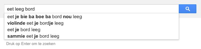 eet leeg bord (Google-poëzie)