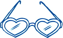 Smurfenblauwe bril