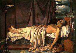 Lord Byron op zijn sterfbed, door Joseph Odevaere