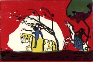 Wassily Kandinsky, Twee ruiters voor een rode achtergrond