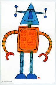 Blauw-oranje robot met punthoofd - fragmented @ Flickr, CC by-nc-nd