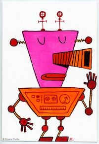 Oranje-roze robot - fragmented @ Flickr, CC by-nc-nd