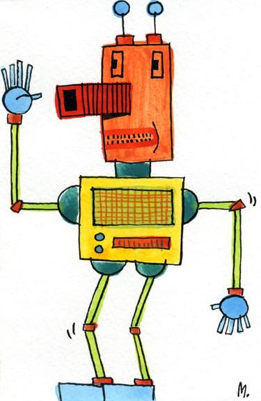 Zwaaiende gele robot - fragmented @ Flickr, CC by-nc-nd