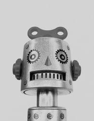 robothoofd met sleutel bovenop