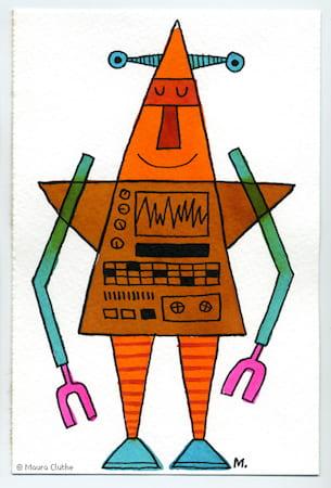 Oranje-bruine robot met punthoofd - fragmented @ Flickr, CC by-nc-nd